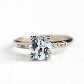 Aquamarine Engagement Ring - Vintage 14k White Gold 1.15 CT Blue Gemstone & Diamonds - Size 6 1950s Fine Alternative Bridal Jewelry