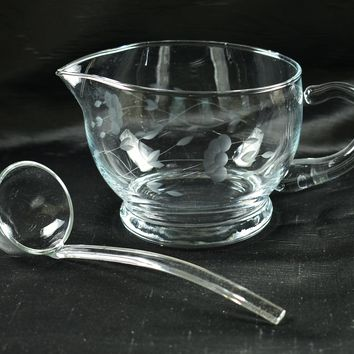 Princess House 464 Heritage Crystal Sauce-boat Gravy Boat & Ladle