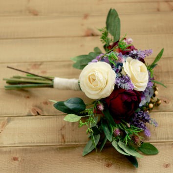 Dark Plum Rose and Lavender Silk Bridal Bouquet