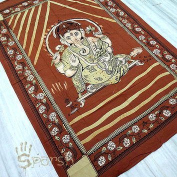 Lord Ganesha Tapestry,Hippie Tapestry,Hippy Boho Bedspread Bed Cover Indian Wall Hanging,Bohemian Cotton Coverlet Tapestry,Ethnic Wall Decor
