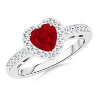 Heart Ruby and Round Diamond Halo Ring