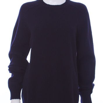 BLUMARINE Navy Over Sized Long Sleeve Crew Neck Wool Knit Sweater Size Large