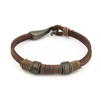 Vintage western style steel beads leather bracelet