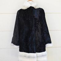 Vintage Faux Fur Coat, Tocci Imports, Glossy Black Faux Fur with White Cuffs and Collar, Mid Length Winter Coat, circa 1970s-1980s