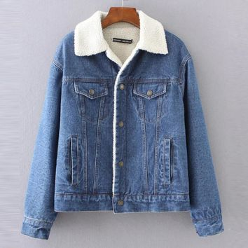 Warm winter denim jacket for Female 2018 New Fashion Autumn Winter Wool lining Jeans Coat Women Bomber Jackets casaco feminino