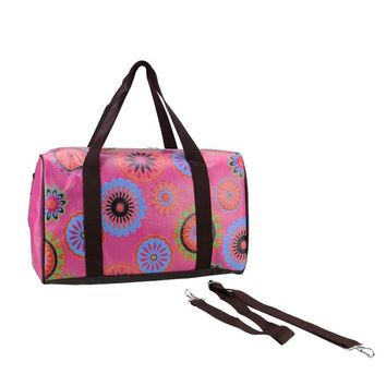 """16"""" Pink Floral Theme Travel Bag with Handles and Crossbody Strap"""