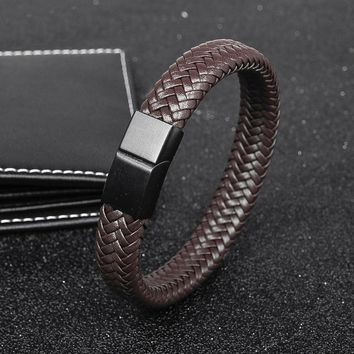 OBSEDE Men Punk Classical Jewelry Braided Leather Bracelet Stainless Steel Magnetic Clasp Minimalist single Wristband Pulseiras