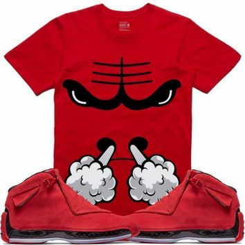 Air Jordan 18 Red Suede Sneaker Tees Shirt - BULLY SMOKE RK