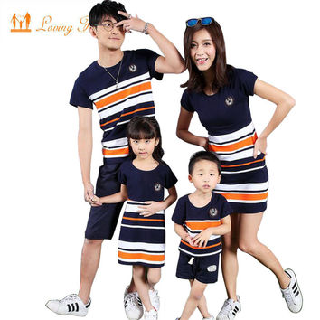 Family Matching Clothing Fashion Look Striped Summer T-shirt Outfits Mother And Daughter Dresses And Father Son Baby Boy Girl
