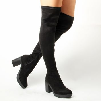 Simmi Shoes: Boots: : Amanda Block Heel Over Knee Boots