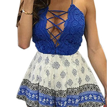 Blue Top Lace-Up Front Criss Cross Back Playsuit