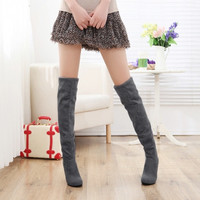 Autumn Winter Faux Suede Over The Knee Stretchy High Heel Boots