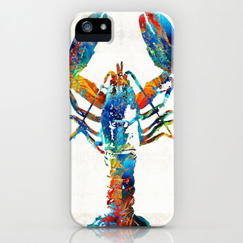 Colorful Lobster Art by Sharon Cummings iPhone & iPod Case by Sharon Cummings