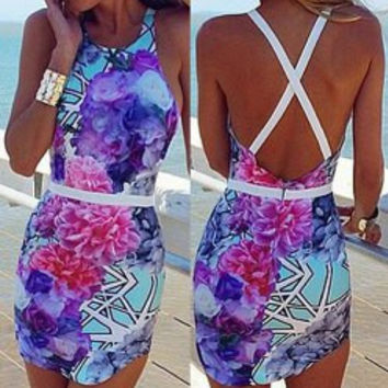 Floral Print Backless Bodycon Round Collar Sleeveless Dress