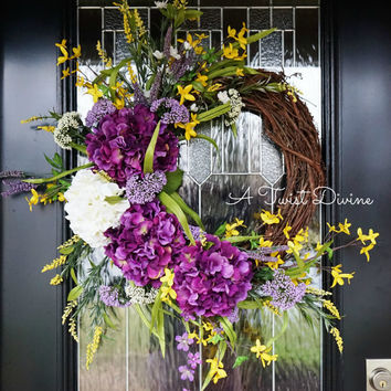 Purple and Yellow Spring Wreath with Removable St. Patrick's Day Sign, Spring Wreath, St. Patrick's Day Wreath, Purple Spring Wreath