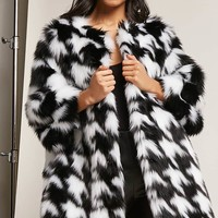 SHACI Faux Fur Houndstooth Coat