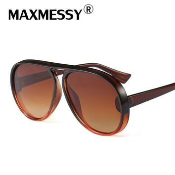 MAXMESSY New luxury Big Frame UV Protection Sunglasses Camping Hiking Eyewear Gradient Men Women Personality Colorful Eyewear