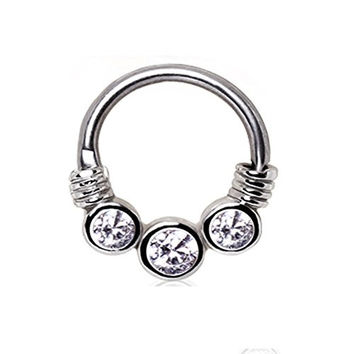 1 - Three Clear Gemmed CZ Princess Septum Clicker 316L Surgical Stainless Steel Rings F69