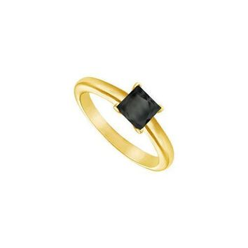 Black Diamond Princess Cut Solitaire Ring : 14K Yellow Gold 1.00 CT Diamond