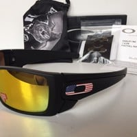 New Oakley BATWOLF Polarized USA FLAG ICONS Sunglasses Matte Black/Fire Iridium