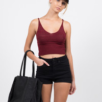 Knit Cropped Cami - Burgundy