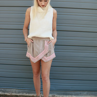 Coastal Cities Taupe Envelope Skort With Chevron Embroidery