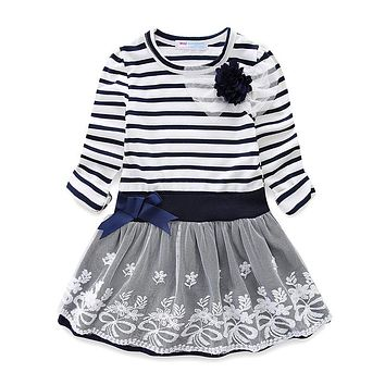 Mudkingdom Girls Wedding Flower Dress Kids Striped Bow Lace Princess Casual Dresses For Party Clothes Children Clothing