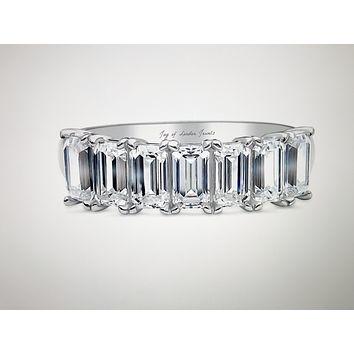 The Briana, A Perfect 3.6TCW Emerald Cut Russian Lab Diamond Half Eternity Ring