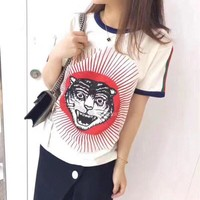 """Gucci"" Unisex Retro Casual Fashion Tiger Head Pattern Letter Print Multicolor Stripe Webbing Short Sleeve Couple T-shirt Top Tee"