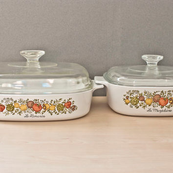 Corning Ware Spice of Life Casserole Set 8x8 10x10 with Lids