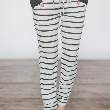 Lounge Joggers ~ White & Stripes