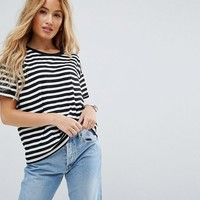 ASOS PETITE Stripe T-Shirt with Roll Sleeve at asos.com