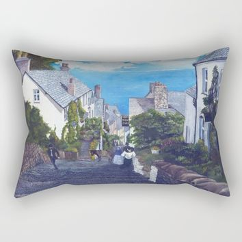 Season of the Village - Down A Cobbled Street Rectangular Pillow by michael jon
