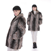 Vintage Faux Fur Coat Brown White Shaggy Oversized Chunky Glam Retro Warm Winter 80s Retro Jacket Women Size Medium / Large