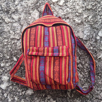 Big Boho Tribal Backpack Hobo Aztec Ethnic Hippies Ethnic Hobo Tapestry Bags Nepali Hipster Native Pattern Beach For School Orange Size16X18