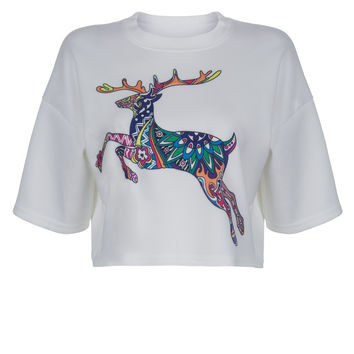 White Contrast Running Deer Print Cropped Top