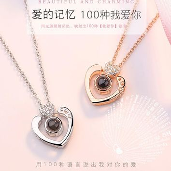 Unisex Pendant Necklaces Crystal Choker 925 Sterling Silver 100 Language I Love You Valentine's Day Gift Jewelry Accessories