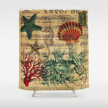 modern elegant seashells music notes beach decor art Shower Curtain by Chicelegantboutique
