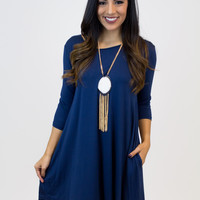 Navy Piko Dress W/Pockets