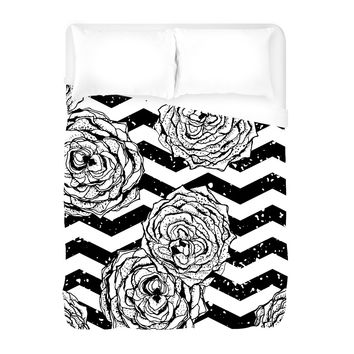 Chevron Hipster Flowers Duvet Cover