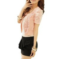 Women Plastic Beads U Neck Short Sleeve Bolero Shrug