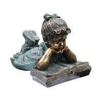 Girl Laying Down Reading Book Statue