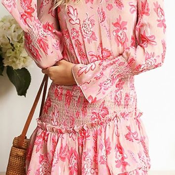 Don't Wait For Me Pink Floral Pattern Ruffle Mock Neck Long Sleeve Smocked Flare A Line Casual Mini Dress