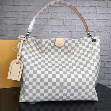 LV 2018 new classic Monogram printing large capacity Tote bag handbag Messenger bag White check