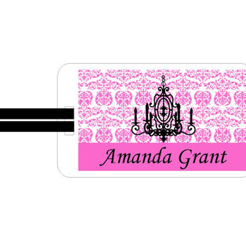 Personalized Bag Tag Pink Paris Chic and not too Shabby Chandelier Luggage or Bag Tag