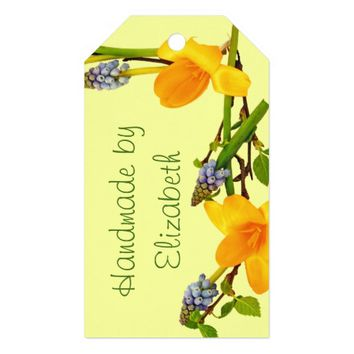 Personalized floral frame with your name pack of gift tags