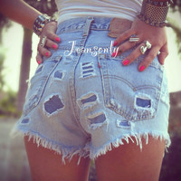 American flag shorts,high waisted Levis distressed denim shorts,high rise destroyed shorts by Jeansonly