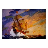 The Santa Maria ~ Vintage Ship Artwork