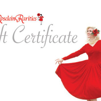 Gift Certificate, Roselein Rarities, vintage clothing apparel, birthday, Valentine's, Christmas, Mother's Day, wedding gift for her