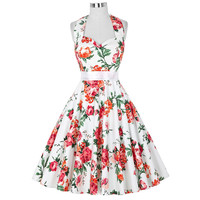 floral print 50s rockabilly dresses 2016 summer style halter sleeveless cotton women vintage big swing pinup dress for tea